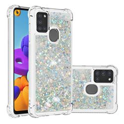 Dynamic Liquid Glitter Sand Quicksand Star TPU Case for Samsung Galaxy A21s - Silver