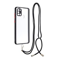 Necklace Cross-body Lanyard Strap Cord Phone Case Cover for Samsung Galaxy A21s - Black
