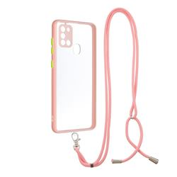 Necklace Cross-body Lanyard Strap Cord Phone Case Cover for Samsung Galaxy A21s - Pink