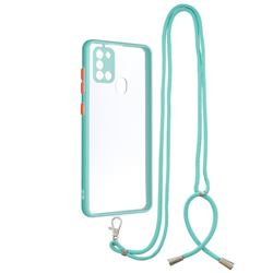 Necklace Cross-body Lanyard Strap Cord Phone Case Cover for Samsung Galaxy A21s - Blue