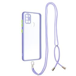 Necklace Cross-body Lanyard Strap Cord Phone Case Cover for Samsung Galaxy A21s - Purple