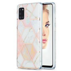 Pink White Marble Pattern Galvanized Electroplating Protective Case Cover for Samsung Galaxy A21s