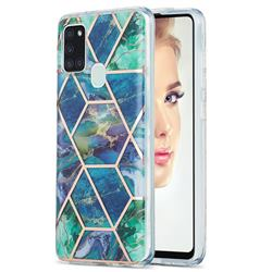 Blue Green Marble Pattern Galvanized Electroplating Protective Case Cover for Samsung Galaxy A21s