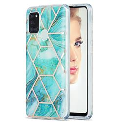 Blue Sea Marble Pattern Galvanized Electroplating Protective Case Cover for Samsung Galaxy A21s