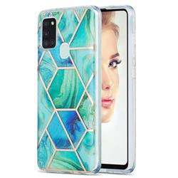 Green Glacier Marble Pattern Galvanized Electroplating Protective Case Cover for Samsung Galaxy A21s