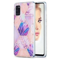 Purple Dream Marble Pattern Galvanized Electroplating Protective Case Cover for Samsung Galaxy A21s