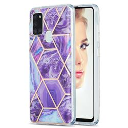 Purple Gagic Marble Pattern Galvanized Electroplating Protective Case Cover for Samsung Galaxy A21s