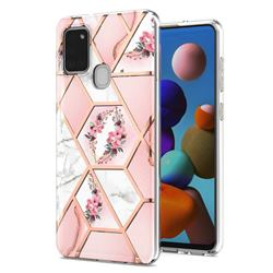 Pink Flower Marble Electroplating Protective Case Cover for Samsung Galaxy A21s
