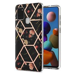 Black Rose Flower Marble Electroplating Protective Case Cover for Samsung Galaxy A21s