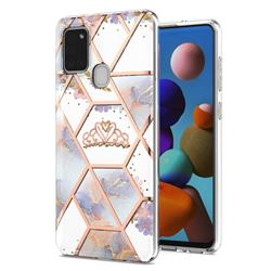 Crown Purple Flower Marble Electroplating Protective Case Cover for Samsung Galaxy A21s