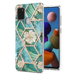 Blue Chrysanthemum Marble Electroplating Protective Case Cover for Samsung Galaxy A21s