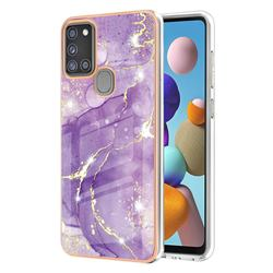 Fashion Purple Electroplated Gold Frame 2.0 Thickness Plating Marble IMD Soft Back Cover for Samsung Galaxy A21s