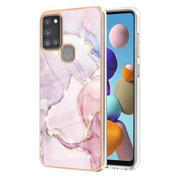 Rose Gold Dancing Electroplated Gold Frame 2.0 Thickness Plating Marble IMD Soft Back Cover for Samsung Galaxy A21s