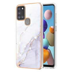 White Dreaming Electroplated Gold Frame 2.0 Thickness Plating Marble IMD Soft Back Cover for Samsung Galaxy A21s