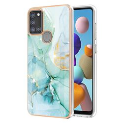 Green Silk Electroplated Gold Frame 2.0 Thickness Plating Marble IMD Soft Back Cover for Samsung Galaxy A21s