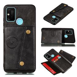 Retro Multifunction Card Slots Stand Leather Coated Phone Back Cover for Samsung Galaxy A21s - Black