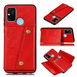 Retro Multifunction Card Slots Stand Leather Coated Phone Back Cover for Samsung Galaxy A21s - Red