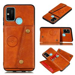 Retro Multifunction Card Slots Stand Leather Coated Phone Back Cover for Samsung Galaxy A21s - Brown