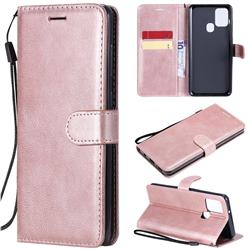 Retro Greek Classic Smooth PU Leather Wallet Phone Case for Samsung Galaxy A21s - Rose Gold
