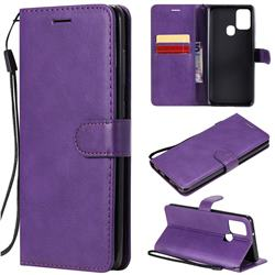 Retro Greek Classic Smooth PU Leather Wallet Phone Case for Samsung Galaxy A21s - Purple