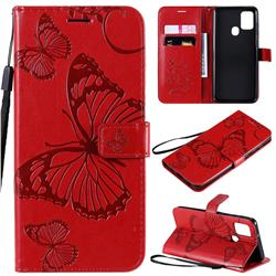 Embossing 3D Butterfly Leather Wallet Case for Samsung Galaxy A21s - Red