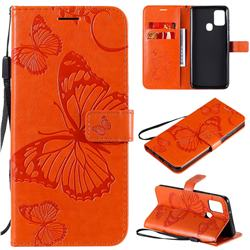 Embossing 3D Butterfly Leather Wallet Case for Samsung Galaxy A21s - Orange