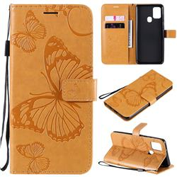 Embossing 3D Butterfly Leather Wallet Case for Samsung Galaxy A21s - Yellow