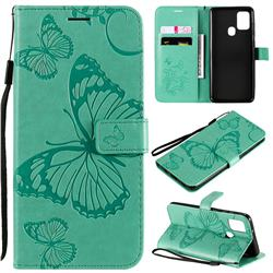 Embossing 3D Butterfly Leather Wallet Case for Samsung Galaxy A21s - Green
