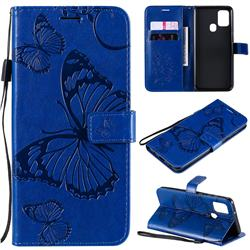 Embossing 3D Butterfly Leather Wallet Case for Samsung Galaxy A21s - Blue