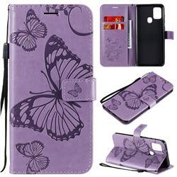 Embossing 3D Butterfly Leather Wallet Case for Samsung Galaxy A21s - Purple
