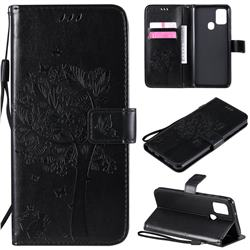 Embossing Butterfly Tree Leather Wallet Case for Samsung Galaxy A21s - Black