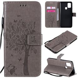 Embossing Butterfly Tree Leather Wallet Case for Samsung Galaxy A21s - Grey