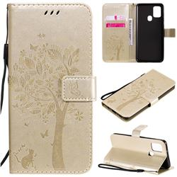 Embossing Butterfly Tree Leather Wallet Case for Samsung Galaxy A21s - Champagne