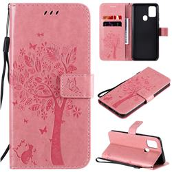 Embossing Butterfly Tree Leather Wallet Case for Samsung Galaxy A21s - Pink