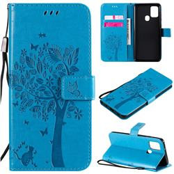 Embossing Butterfly Tree Leather Wallet Case for Samsung Galaxy A21s - Blue