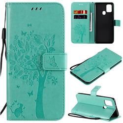 Embossing Butterfly Tree Leather Wallet Case for Samsung Galaxy A21s - Cyan