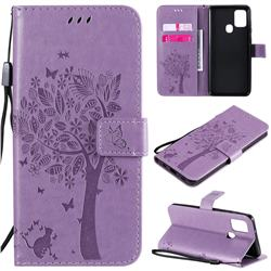 Embossing Butterfly Tree Leather Wallet Case for Samsung Galaxy A21s - Violet