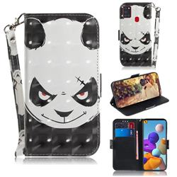 Angry Bear 3D Painted Leather Wallet Phone Case for Samsung Galaxy A21s