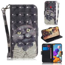 Cat Embrace 3D Painted Leather Wallet Phone Case for Samsung Galaxy A21s