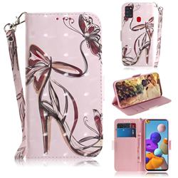 Butterfly High Heels 3D Painted Leather Wallet Phone Case for Samsung Galaxy A21s