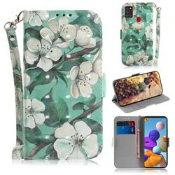 Watercolor Flower 3D Painted Leather Wallet Phone Case for Samsung Galaxy A21s