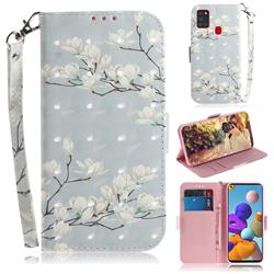 Magnolia Flower 3D Painted Leather Wallet Phone Case for Samsung Galaxy A21s