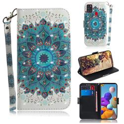 Peacock Mandala 3D Painted Leather Wallet Phone Case for Samsung Galaxy A21s