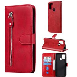Retro Luxury Zipper Leather Phone Wallet Case for Samsung Galaxy A21s - Red
