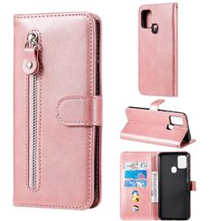 Retro Luxury Zipper Leather Phone Wallet Case for Samsung Galaxy A21s - Pink