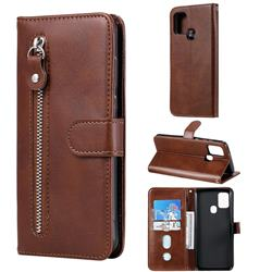 Retro Luxury Zipper Leather Phone Wallet Case for Samsung Galaxy A21s - Brown