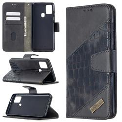 BinfenColor BF04 Color Block Stitching Crocodile Leather Case Cover for Samsung Galaxy A21s - Black