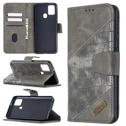 BinfenColor BF04 Color Block Stitching Crocodile Leather Case Cover for Samsung Galaxy A21s - Gray