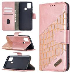 BinfenColor BF04 Color Block Stitching Crocodile Leather Case Cover for Samsung Galaxy A21s - Rose Gold