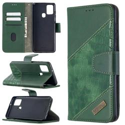 BinfenColor BF04 Color Block Stitching Crocodile Leather Case Cover for Samsung Galaxy A21s - Green